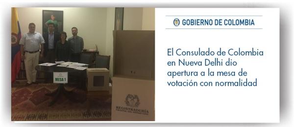Consulado de Colombia en Nueva Delhi dio apertura a la mesa de votación con normalidad